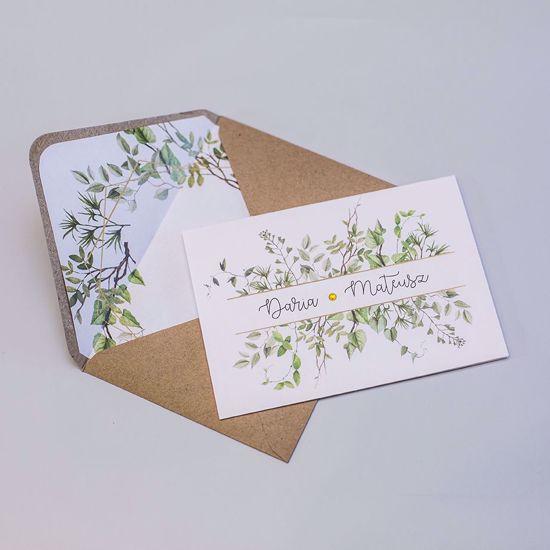 Zaproszenie ślubne klasyczne Rustykalne listki