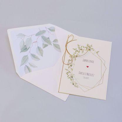 Zaproszenie ślubne klasyczne Delikatne listki