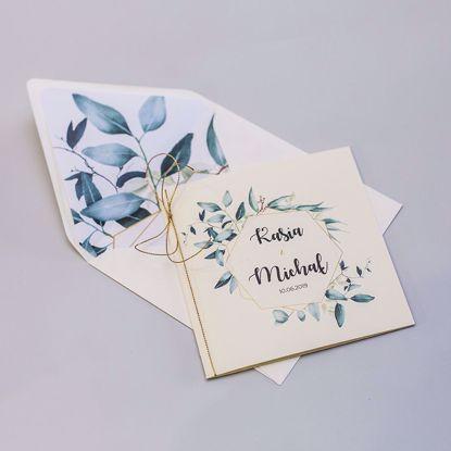 Zaproszenie ślubne kwadratowe delikatne listki