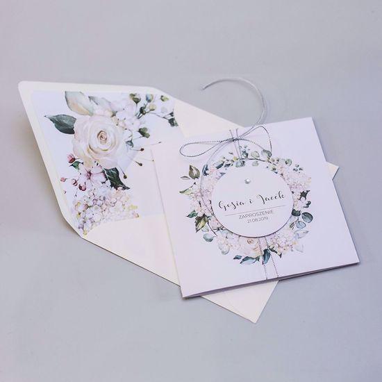 Zaproszenie ślubne kwadratowe Kremowe hortensje