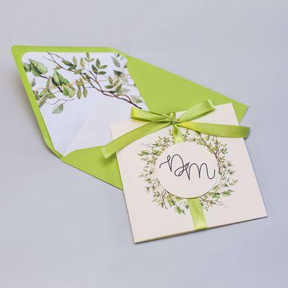 Zaproszenie ślubne kwadratowe Rustykalne listki