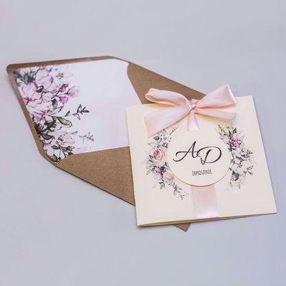 Zaproszenia ślubne kwadratowe Pastelowe róże