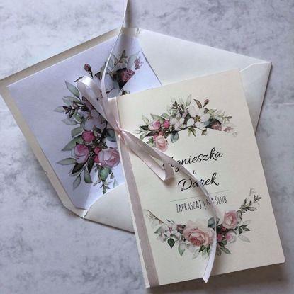 Zaproszenie ślubne klasyczne Pastelowe różeZ
